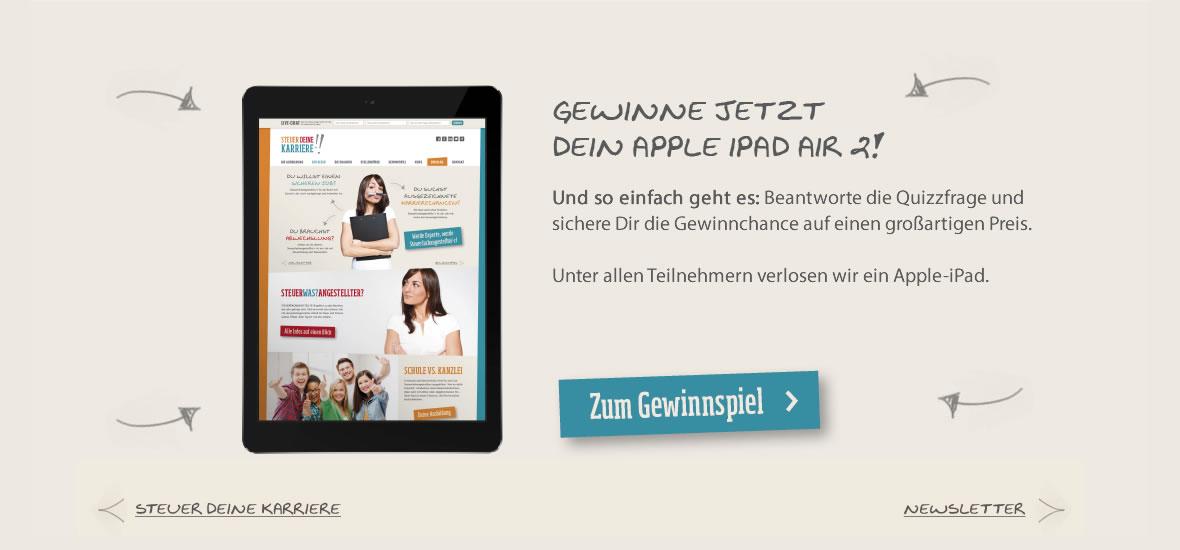 Slider mit iPad und Gewinnaufforderung